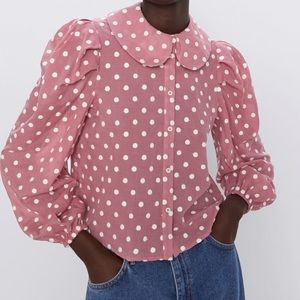 Zara Pink and White Puffy Sleeve Blouse